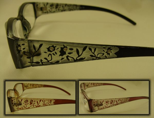 + 7.00 EXTRA STRONG LADIES READERS LASER CUT DESIGN HALF FRAME #R754