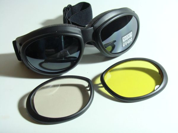 MOTORCYCLE GOGGLE WITH INTERCHANGEABLE LENSES #4767C