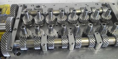 Complex Plastic Injection Mold with gears and moving parts.  Built by Triaxis Machine & Tool.