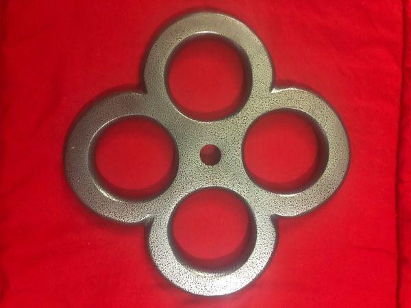 Aluminum four hole powder coated grey Shibari suspension ring
