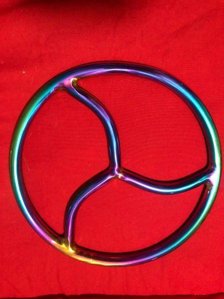 Rainbow stainless steel triskle shibari suspension ring