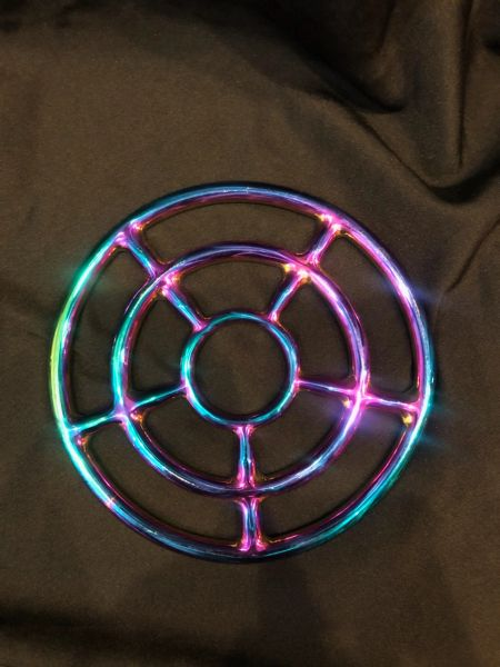 Rainbow stainless steel Triple shibari suspension ring