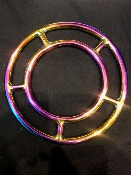 Rainbow stainless steel double shibari suspension ring