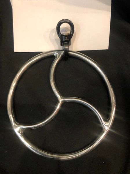 Polished stainless steel Triskle shibari suspension ring with spinner