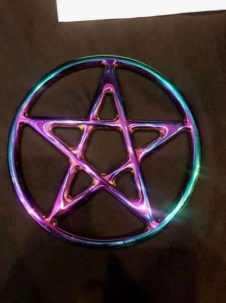 Rainbow Stainless steel star / pentagram shibari suspension ring 9 inch