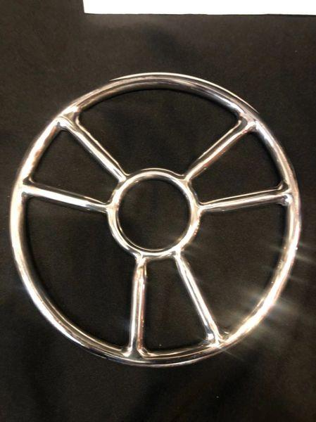 Polished stainless steel six spoke shibari suspension ring