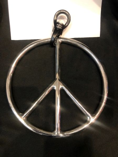 Polished stainless steel peace shibari suspension ring with spinner
