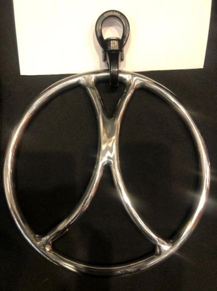 Polished stainless steel x shibari suspension ring with spinner