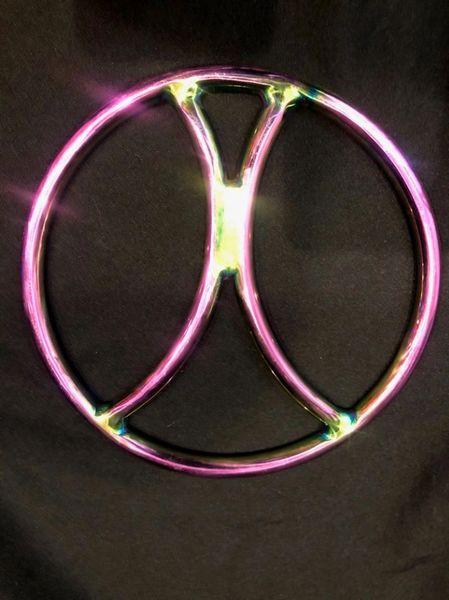 Rainbow stainless steel X shibari suspension ring