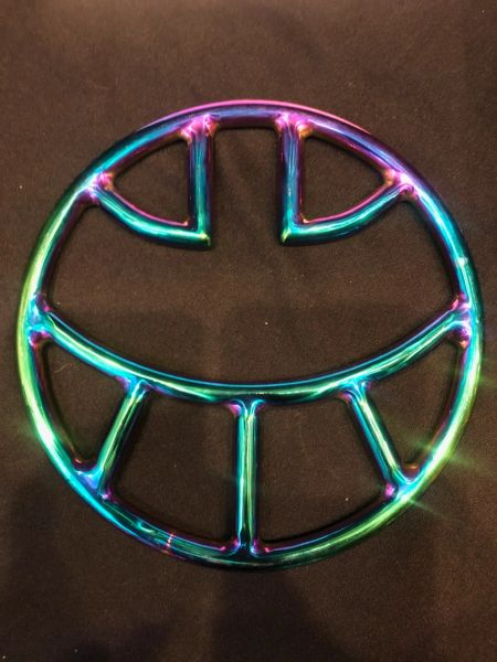 Rainbow stainless steel Smiley face shibari suspension ring