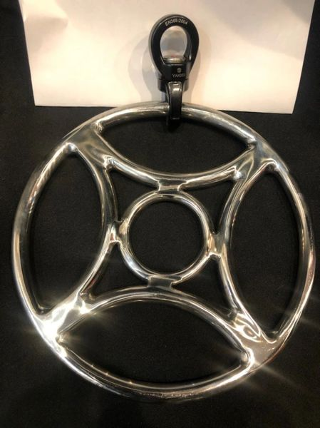 Polished stainless steel Four corners shibari suspension ring with spinner