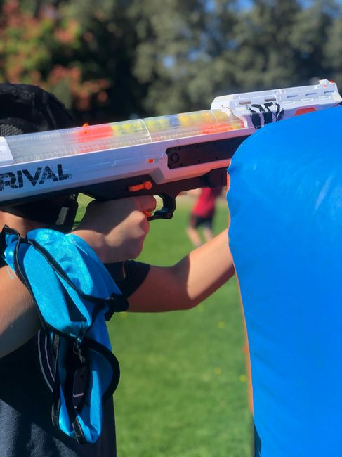Nerf War using Rival Gun shooting foam balls is great fun for birthday and all occasions.