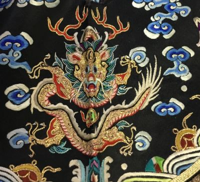 Antique Chinese embroidered textile. Jocoy conducts estate sales in San Diego: Chinese antiques.