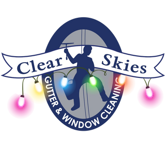 Clear Skies Cleaning Logo with Christmas holiday lighting on it