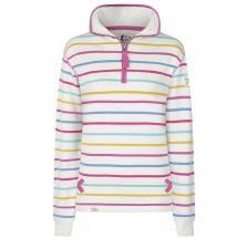 SS20LJ35 - Ladies 1/4 Zip Stripe Sweatshirt Periwinkle Multi