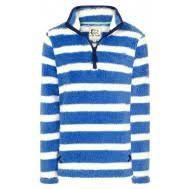 LJ86 - Ladies 1/4 Zip Stripe Snug Denim