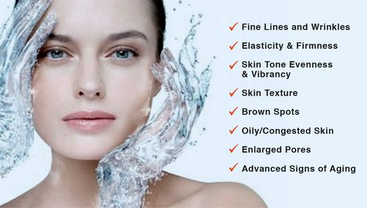 Hydrafacial Md reduce oily congested skin reduce enlarge pores improve skin elasticy and texture