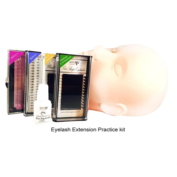 Volume Lash Extensions Practice Kit with Mannequin Training Head