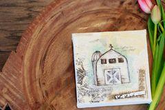 Custom Canvas Barn Art - White