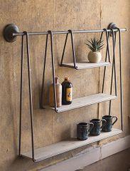Wood and Metal Triple Hanging Shelf