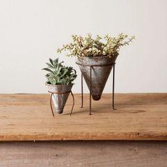 Tin Cone Plant Pots