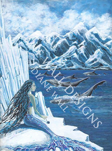 Arctic Mermaid Original Mermaid watercolor icebergs  12x16 in. Beluga whale,Baby Harp seals,glaciers Mother and Daughter mermaid