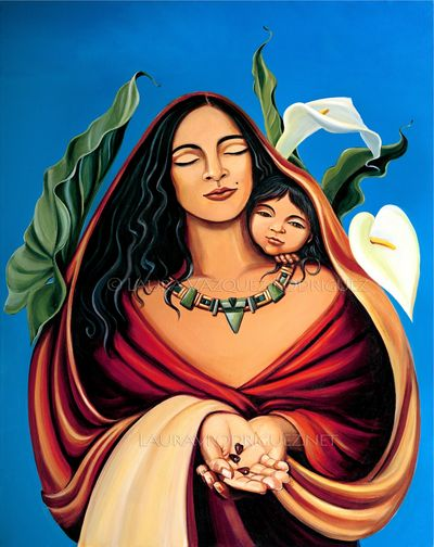 Seeds of Love,  Mother and Child Artwork by Laura Vazquez Rodriguez.