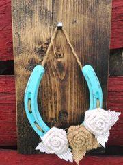 Burlap Flower Lucky Horseshoe- Turquoise
