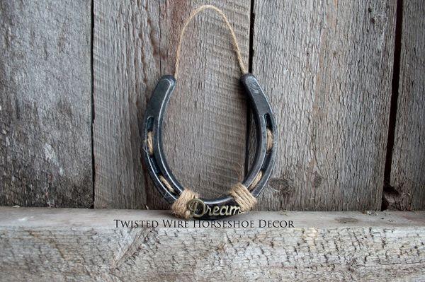 Lucky Horseshoe- black horseshoe with words