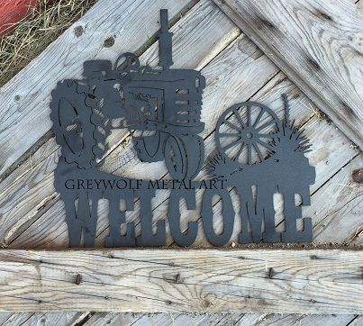 Old Tractor Welcome Sign