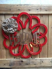 Wreath Welcome with burlap flower