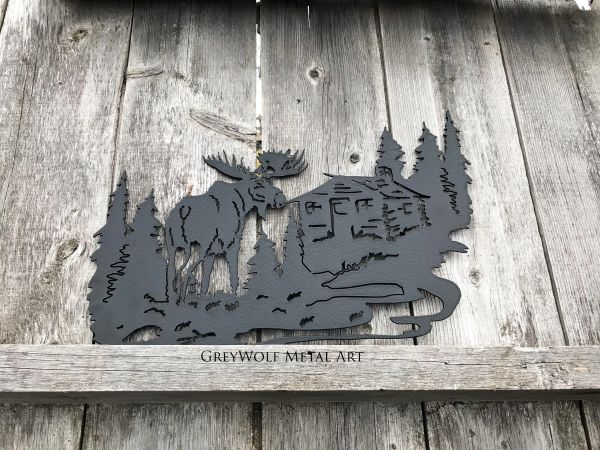 Moose and Cabin