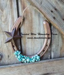 Lucky Horseshoe- Horseshoe With Star and Turquoise Beads