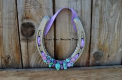 Lucky Horseshoe- Silver With Purple and Turquoise