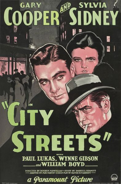 City Streets, Gary Cooper, Sylvia Sidney, Paul Lukas, William Boyd (1931)