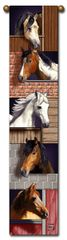 """Tapestry - """"Horses - Stable Mates"""" - Bell Pull, 8.5x40"""