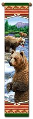 """Tapestry - """"Bears - Lodge Bears"""" - Hanging Bell Pull, 8.5x40"""