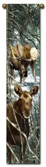 "Tapestry - ""Moose - Forest King"" - Hanging Bell Pull, 8.5x40"
