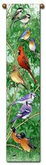 "Tapestry - ""Birds - Backyard Birds"" - Hanging Bell Pull, 8.5x40"
