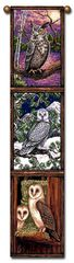 "Tapestry - ""Birds - Owls"" - Hanging Bell Pull, 8.5x40"