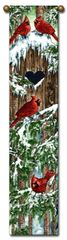 "Tapestry - ""Birds - Cardinal"" - Hanging Bell Pull, 8.5x40"