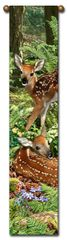 "Tapestry - ""Deer - The Twins"" - Bell Pull Hanging, 8.5x40"