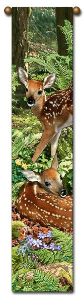 "Tapestry - ""Deer - The Twins"" - 8.5""x40"""