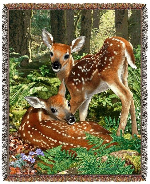 """Tapestry - """"Deer - The Twins"""" - Afghan, 53x67"""