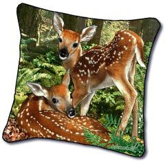 "Tapestry - ""Deer - The Twins"" - Pillow, 18""x18"""