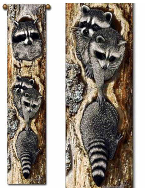"Tapestry - ""Raccoons - Full House"" - 8.5""x40"""