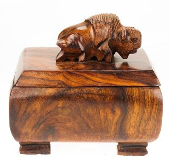 Carving - Ironwood Bison Box - 3""