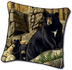 "Tapestry - ""Bears - Den Mother"" - Pillow, 18x18"
