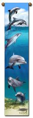"""Tapestry - """"Beach - Dolphins"""" - Hanging Bell Pull, 8.5x40"""