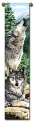 "Tapestry - ""Wolf - Grey Song"" - Hanging Bell Pull, 8.5x40"